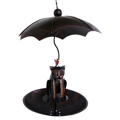 Copper Kitty with Cardinal Bird Feeder