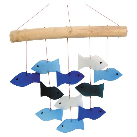 Swimming Fish Glass Wind Chime with Wood
