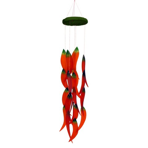 """Red Hot Chiles"" Glass and Wood Wind Chime"