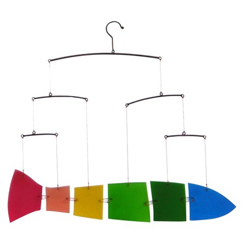 """Rainbow Fish"" Glass Kinetic Hanging Mobile"