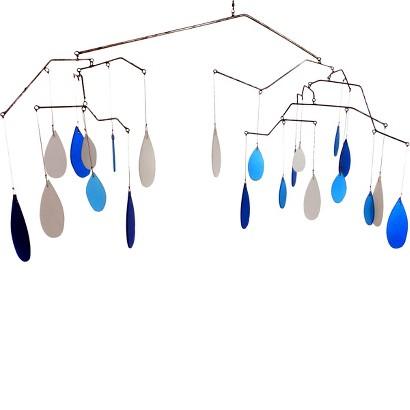 """""""Glass Raindrops"""" Kinetic Hanging Mobile"""