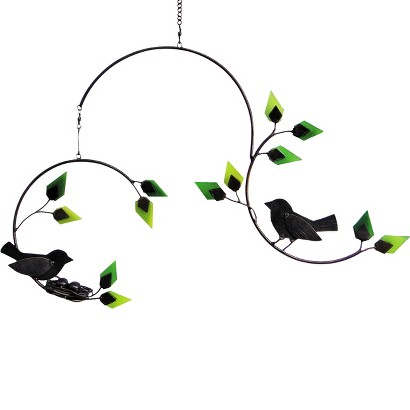 """""""Forest Birds With Nest"""" Glass and Metal Kinetic Hanging Mobile"""