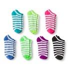 Girls' 7-Pack Glitter Striped No Show Socks - Assorted