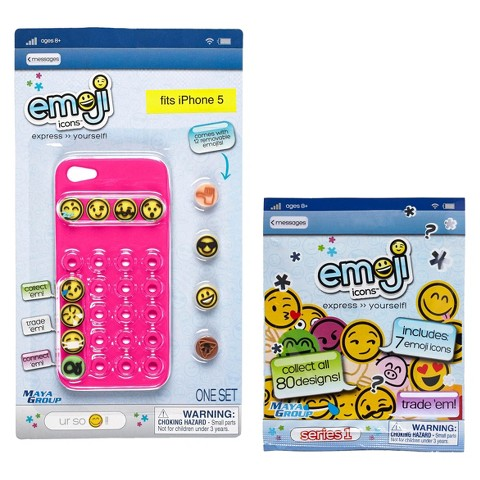 Emoji Icons™ Cell Phone Case iPhone 5 Bundle - Pink