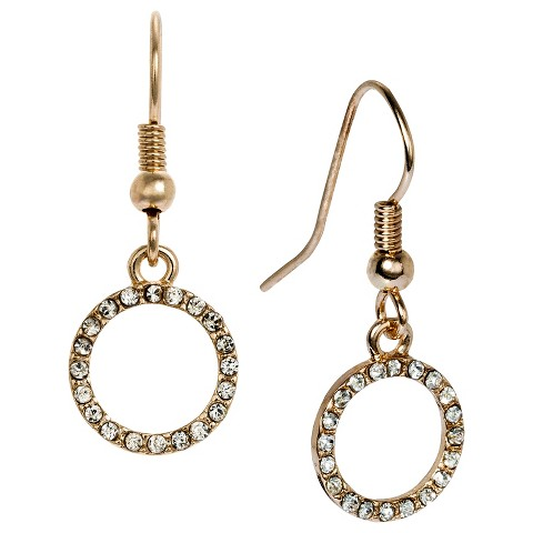 Women's Open Circle Drop Earring with Pave Accents - Gold
