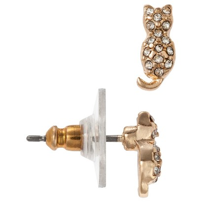 Women's Small Cat Stud Earring with Pave Accents - Gold