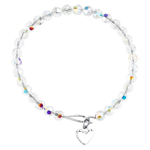 Stainless Steel Expandable Bracelet Crystal AB Heart - Silver