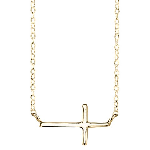 Gold Plated over Sterling Silver Pendant Cross - Gold