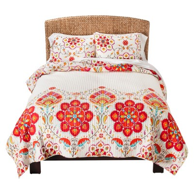 Mudhut™ Tamarin Quilt Set - Ivory/Red (Full/(Queen)
