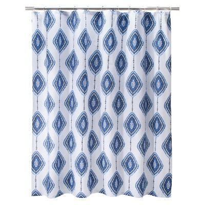 Shower Curtain Mudhut Shapes Multicolor Blue