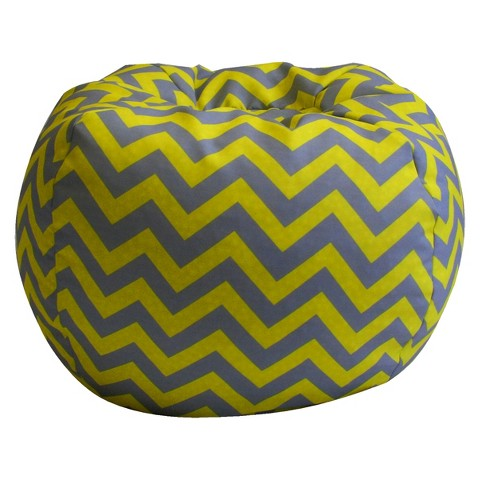 Komfy Kings Chevron Bean Bag - Gray/Yellow