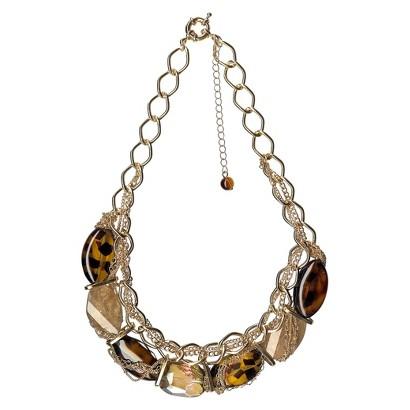 "Women's Fashion Necklace - Gold/Tortoise (18"")"