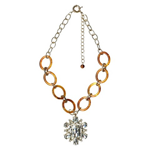 "Women's Fashion Necklace - Gold/Tortoise (18"")"
