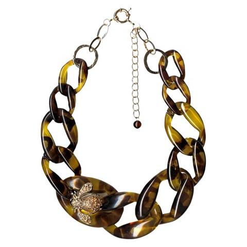 "Women's Fashion Necklace - Gold/Tortoise (19"")"