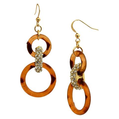 Women's Fashion Drop Earrings - Gold/Tortoise