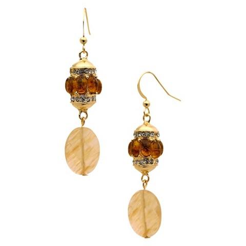 Women's Fashion Drop Earrings - Gold/Brown