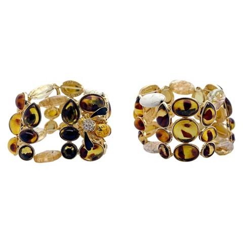 Women's Fashion Stretch Bracelet - Gold/Tortoise