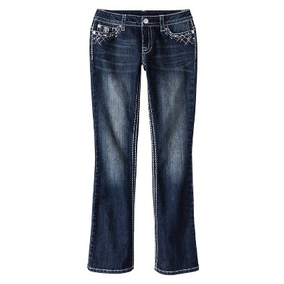 Low-Rise Bootcut Bling Pocket Jeans - Dark Wash - Paisley Sky