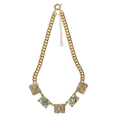 "Women's Fashion Necklace - Gold/Turquoise/White(20"")"