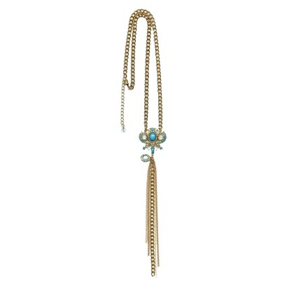 "Women's Fashion Necklace - Gold/Turquoise/White(28"")"