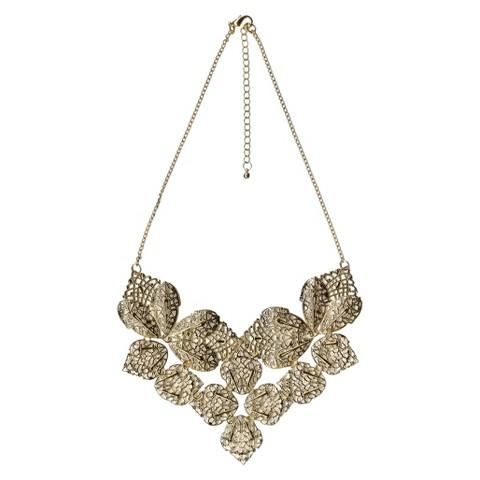 "Women's Fashion Statement Necklace - Gold(18"")"
