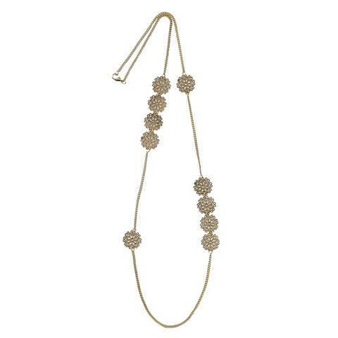 """Women's Fashion Station Necklace - Gold(42"""")"""