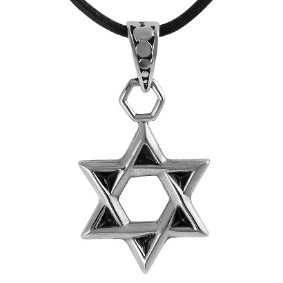 Stainless Steel Star of David Necklace - Silver