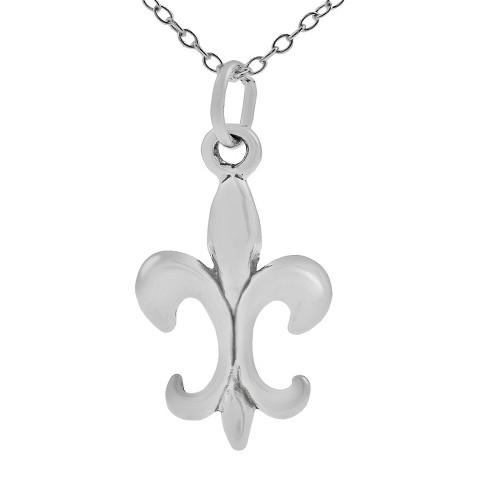 Sterling Silver Fleur de Lis Necklace - Silver