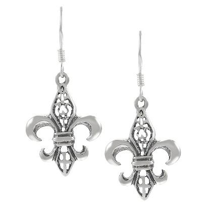 Sterling Silver Fleur de Lis Dangle Earrings - Silver