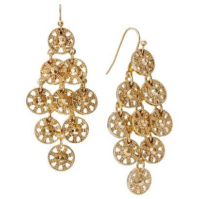 Women's Metal Disc Chandelier Earrings - Gold