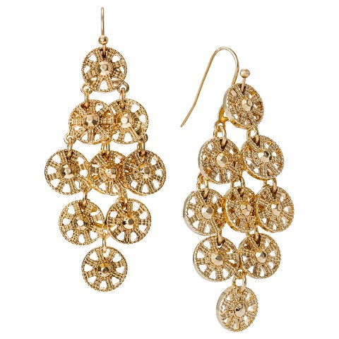 Women's Metal Disc Chandelier Earrings - Gold