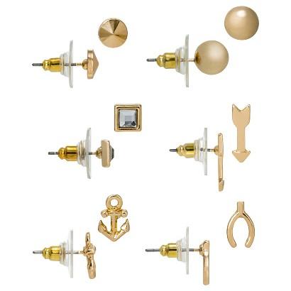 Women's Multi-Shape Stud Earrings Set of 6 - Gold