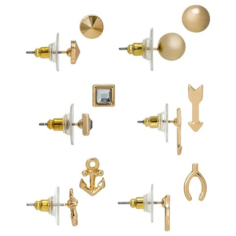 Women's Multi-Shape Stud Earrings Set of 6 - Gold
