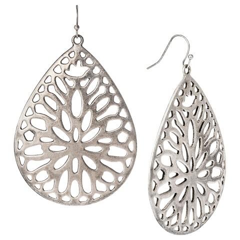 Women's Large Cut Through Teardrop Earrings - Oxidized Silver