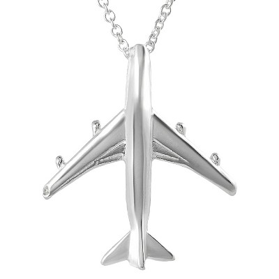 Journee Collection Sterling Silver Airplane Necklace