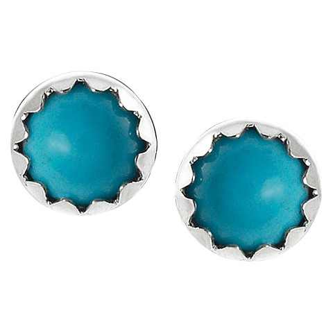 Journee Collection Sterling Silver Genuine Turquoise Stud Earrings - Blue