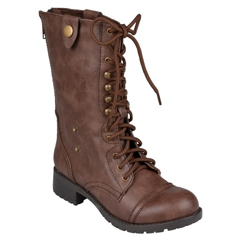 Women's Bamboo By Journee Fold-Over Combat Boots
