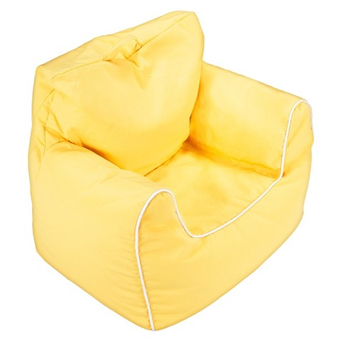 Ace Bayou Girls Bean Bag Chair with Piping Yellow