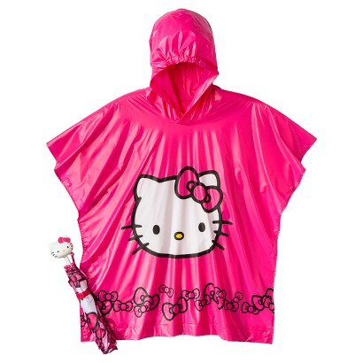 Hello Kitty Girls' Umbrella and Poncho Set