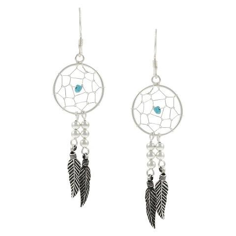 Journee Sterling Silver Turquoise Dream Catcher Earrings - Silver