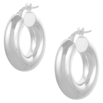 Journee Sterling Silver Hoop Earrings - Silver