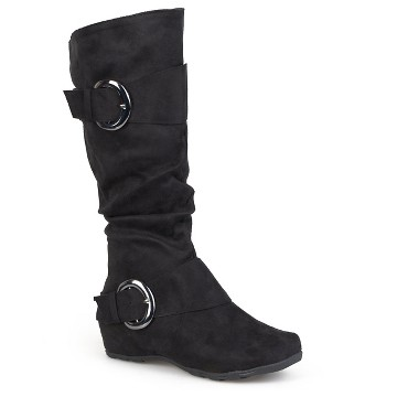 Women's Journee Collection Slouch Buckle Knee-High Microsuede Boots