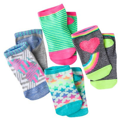 Xhilaration® Girls' 4pk Smiley No Show Socks