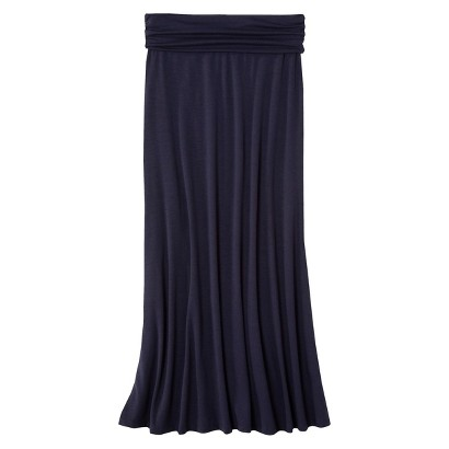 Junior's Solid Foldover Maxi Skirt