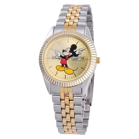 Men's Disney® Mickey Mouse Two-Tone Link Watch with Gold Dial - Silver/Gold