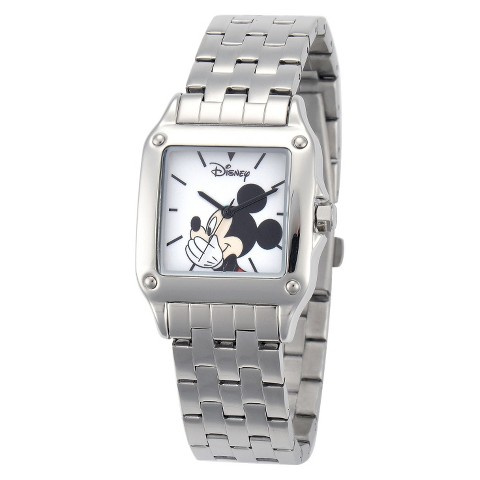 Men's Disney® Mickey Mouse Link Watch with Square Dial - Silver/White