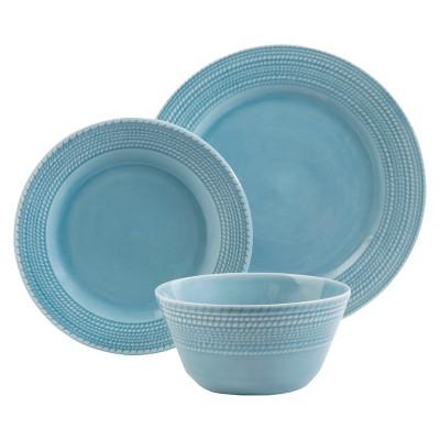 Threshold™ Basket Rope Weave 12 piece Dinnerware Set - Sky Blue