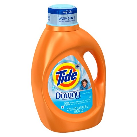Tide Plus A Touch of Downy Clean Breeze Liquid Laundry Detergent - 92 oz