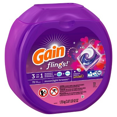 Gain Flings Moonlight Breeze Laundry Detergent Pacs - 72 Count