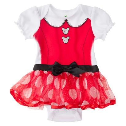 Disney® Newborn Girls' Minnie Mouse Skirted Bodysuit - Red